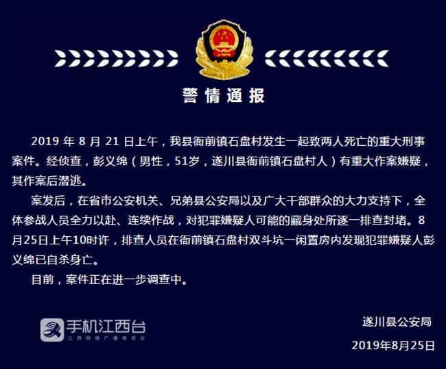 """遂川县公安局""""8.21""""命案犯罪嫌疑人自杀身亡"""