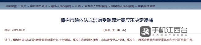 宜春正县级干部高应东被逮捕 副本