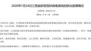 江西确诊18例新型冠状病毒肺炎 465人接受医学观察