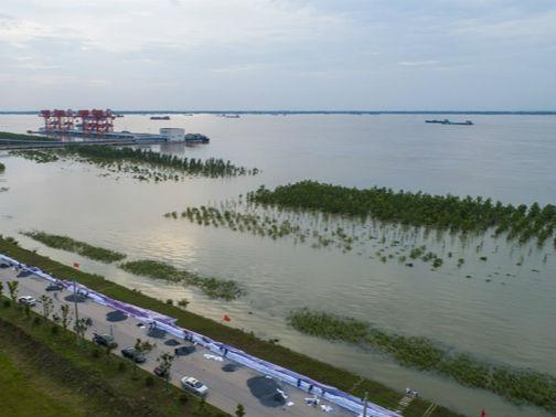 7月11日,长江干堤湖口砂洲堤段,千名干群正在筑堤防汛。3