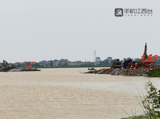 247 鄱阳县中洲圩决口开始封堵_副本