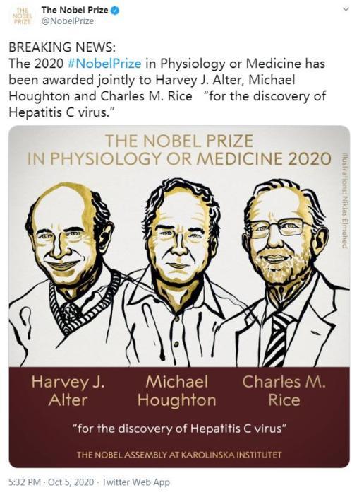 [2020年诺贝尔生理学或医学奖揭晓]2020年诺贝尔生理学或医学奖揭晓 3位科学家获奖