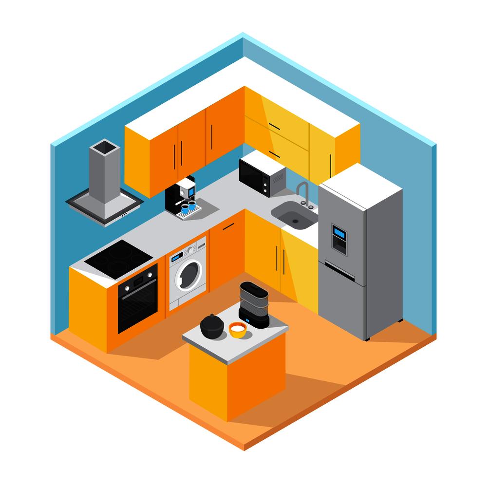 摄图网_300905692_现代厨房内部等距与家具家用电器厨具矢量插图现代厨房内部等距(企业商用).jpg