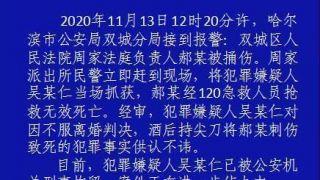 因不服离婚判决捅死法庭负责人 哈尔滨一男子被刑拘