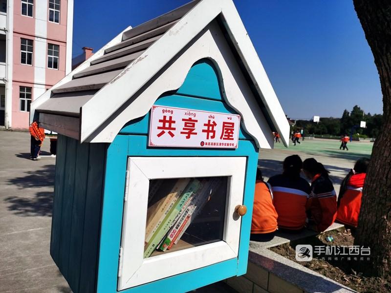 南昌高新区清华实验学校打造的共享书屋,让孩子们分享阅读的快乐。