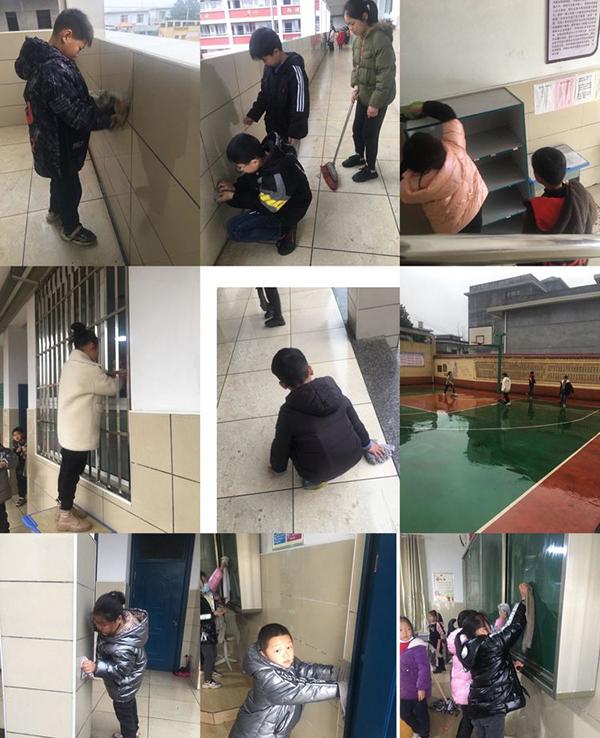 高坑茶亭学校开展卫生大扫除活动