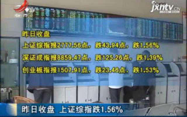 8月6日收盘 上证综指跌1.56%