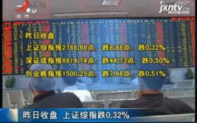 8月7日收盘 上证综指跌0.32%