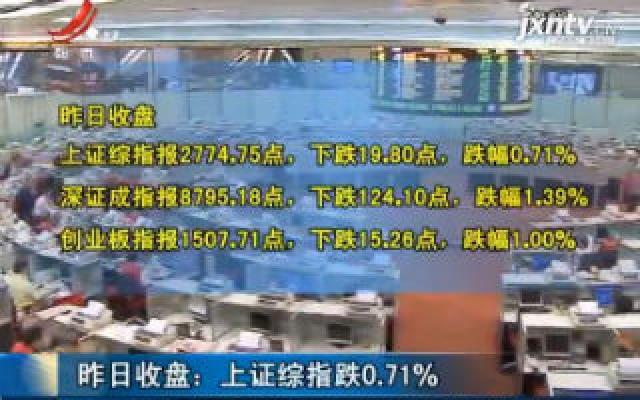8月9日收盘:上证综指跌0.71%
