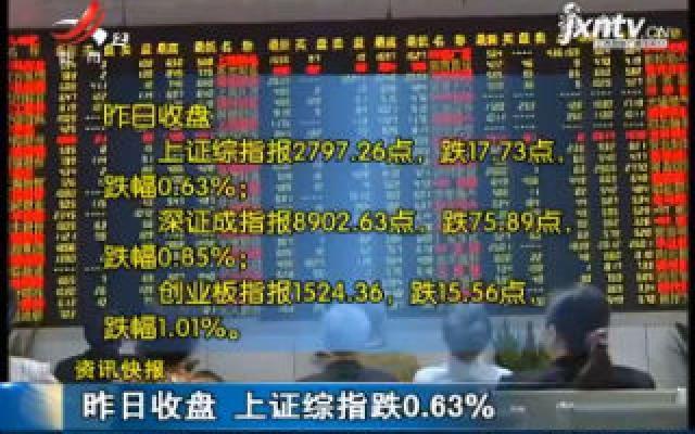 8月13日收盘 上证综指跌0.63%