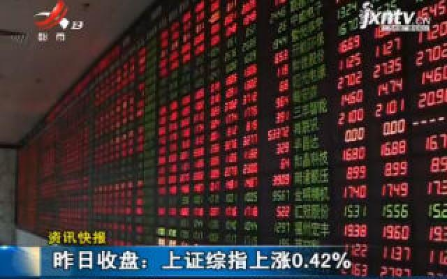 8月14日收盘:上证综指上涨0.42%
