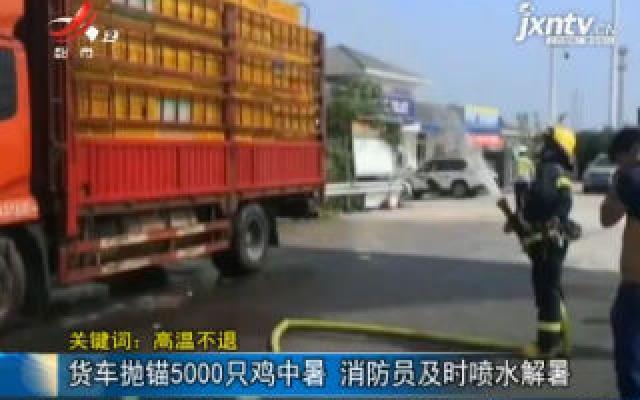 【关键词:高温不退】货车抛锚5000只鸡中暑 消防员及时喷水解暑