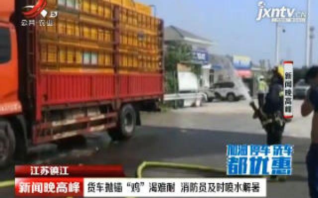 """江苏镇江:货车抛锚""""鸡""""渴难耐 消防员及时喷水解暑"""