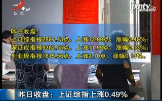2019年8月23日收盘:上证综指上涨0.49%