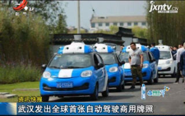 武汉发出全球首张自动驾驶商用牌照