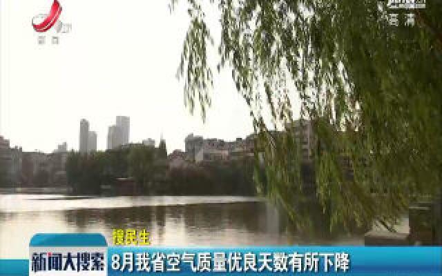 8月江西省空气质量优良天数有所下降