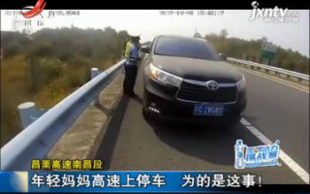 昌栗高速南昌段:年轻妈妈高速上停车 为的是这事!