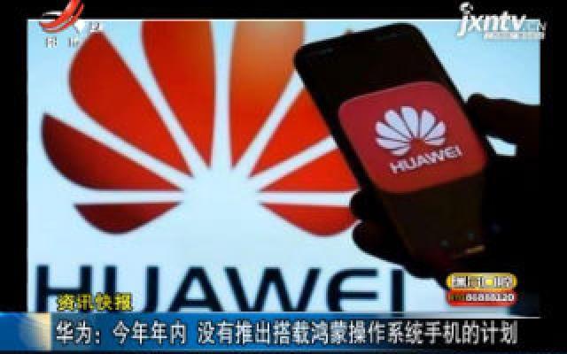 华为:2019年年内 没有推出搭载鸿蒙操作系统手机的计划