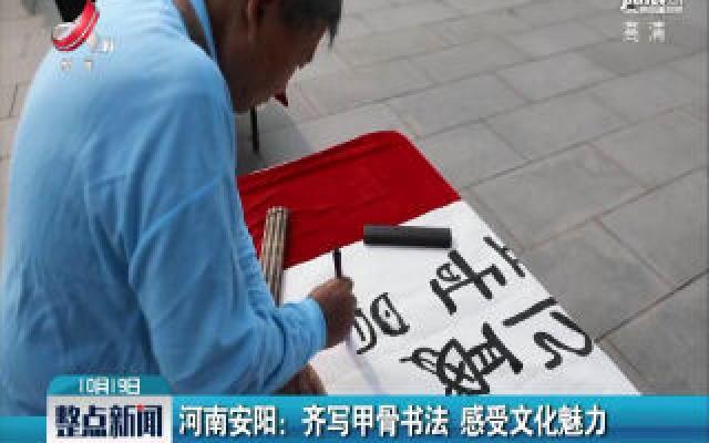 河南安阳:齐写甲骨书法 感受文化魅力