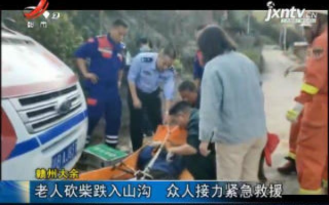 赣州大余:老人砍柴跌入山沟 众人接力紧急救援