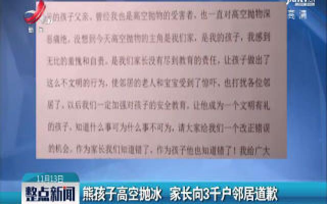 浙江杭州:熊孩子高空抛冰 家长向3千户邻居道歉