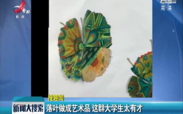 江苏:落叶做成艺术品 这群大学生太有才