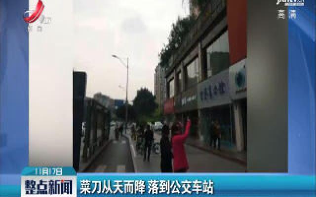 四川成都:菜刀从天而降 落到公交车站