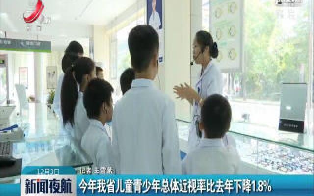 2019年江西省儿童青少年总体近视率比2018年下降1.8%