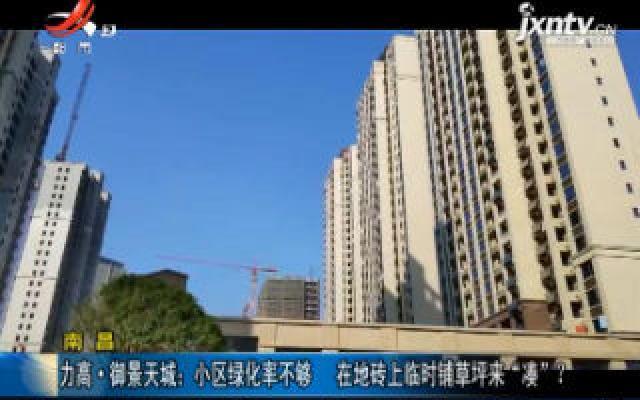 """南昌·力高御景天城:小区绿化率不够 在地砖上临时铺草坪来""""凑""""?"""
