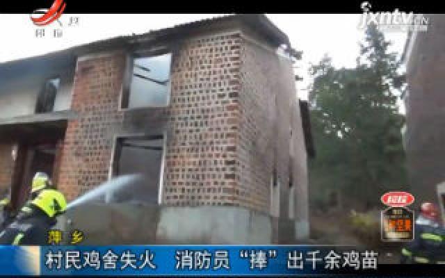 """萍乡:村民鸡舍失火 消防员""""捧""""出千余鸡苗"""