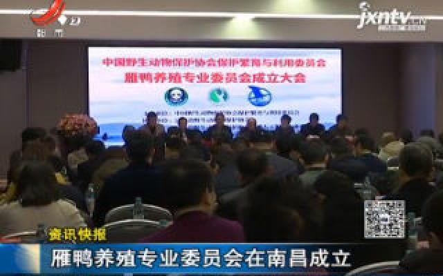 雁鸭养殖专业委员会在南昌成立