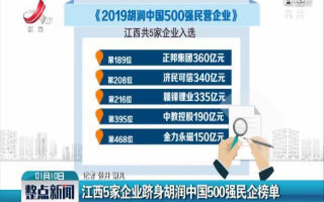 江西5家企业跻身胡润中国500强民企榜单