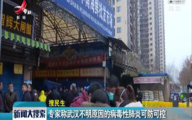 专家称武汉不明原因的病毒性肺炎可防可控