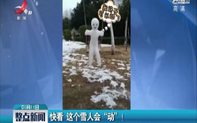 """河南开封:快看 这个雪人会""""动""""!"""