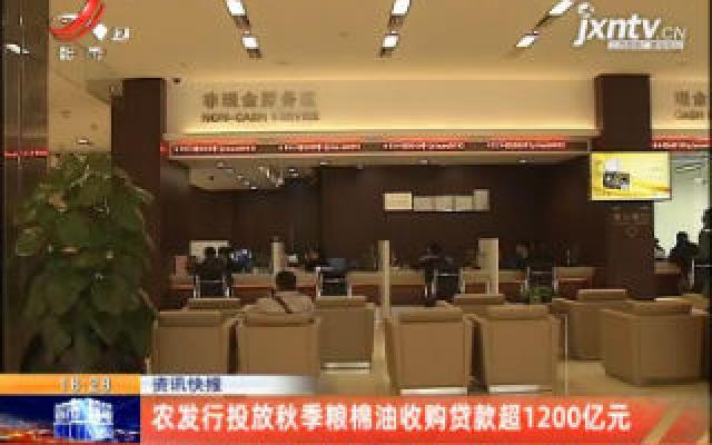 农发行投放秋季粮棉油收购贷款超1200亿元