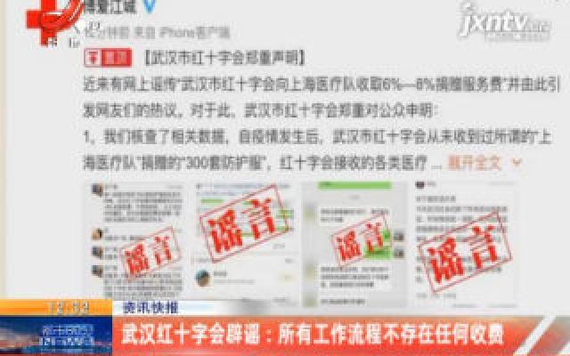 武汉红十字会辟谣:所有工作流程不存在任何收费