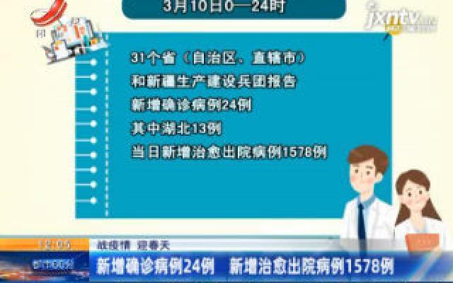 【战疫情 迎春天】3月10日0-24时新增确诊病例24例 新增治愈出院病例1578例