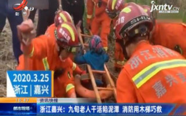 浙江嘉兴:九旬老人干活陷泥潭 消防用木梯巧救