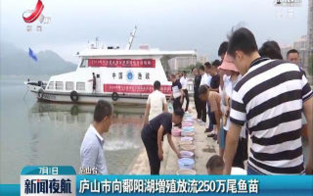 庐山市向鄱阳湖增殖放流250万尾鱼苗