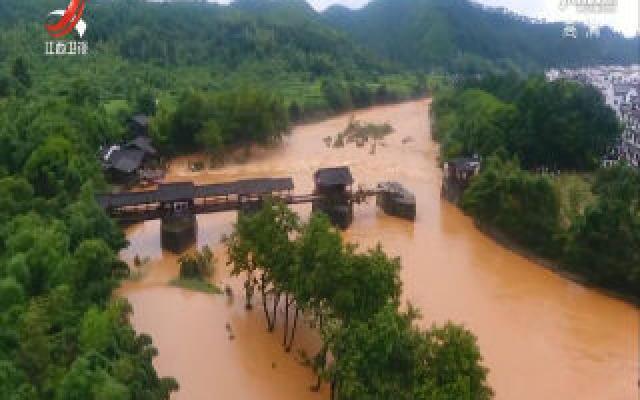 婺源八百年古桥彩虹桥被洪水冲毁