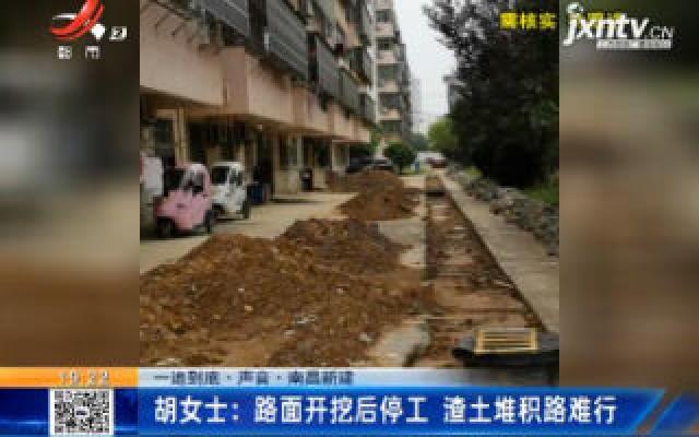【一追到底·声音】南昌新建·胡女士:路面开挖后停工 渣土堆积路难行