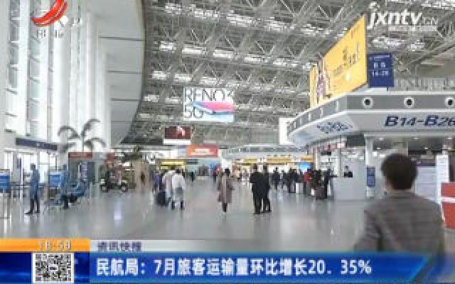 民航局:7月旅客运输量环比增长20.35%