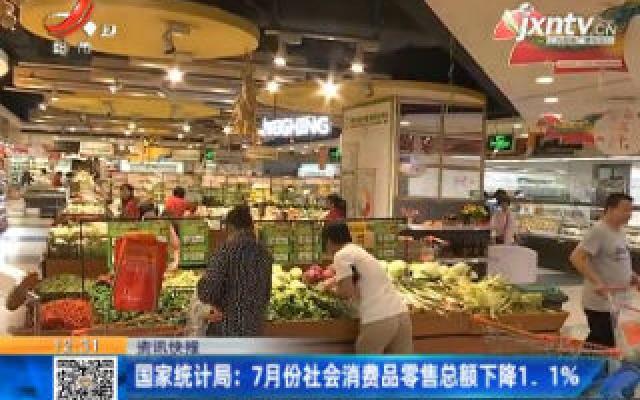 国家统计局:7月份社会消费品零售总额下降1.1%