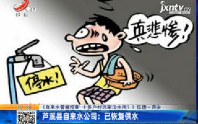 【《自来水管被挖断 十多户村民家没水用?》反馈】萍乡·芦溪县自来水公司:已恢复供水