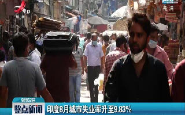 印度8月城市失业率升至9.83%