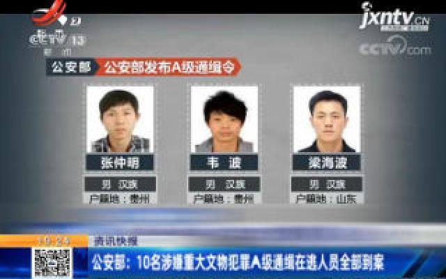 公安部:10名涉嫌重大文物犯罪A级通缉在逃人员全部到案