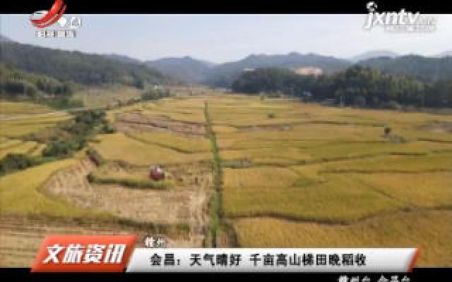 赣州会昌:天气晴好 千亩高山梯田晚稻收